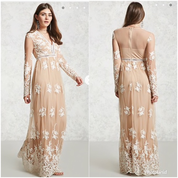 83e3d28b299 Nude Cream Embroidered Maxi Dress